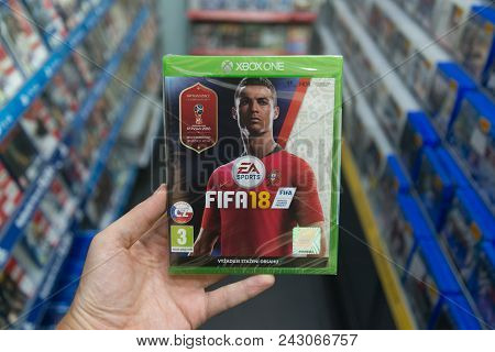 Bratislava, Slovakia, Circa May 2018: Man Holding Fifa 18 With Russia World Cup 2018 Cover Videogame