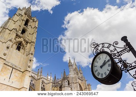Clock And Cathedral Tower In Leon, Spain