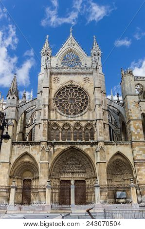 Front View Of The Cathedral In Leon, Spain