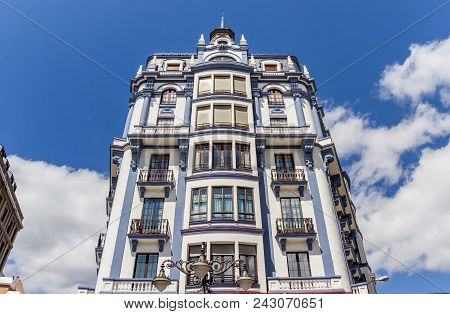 White And Blue Apartment Building In The Center Of Leon, Spain