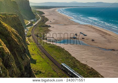 Train Journey Between Londonderry And Coleraine Near The Atlantic Ocean, One Of The Most Beautiful R