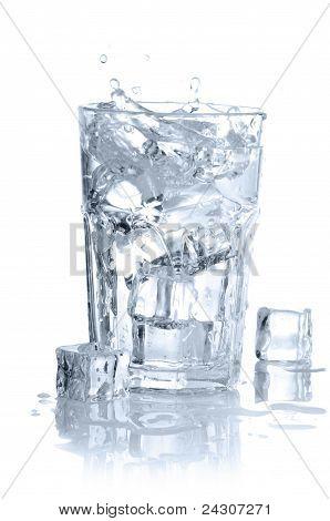 splashing water in glass