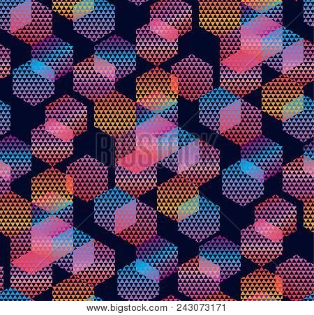 Abstract Geometric Colorful Seamless Pattern For Background, Wrapping Paper, Fabric, Surface Design.