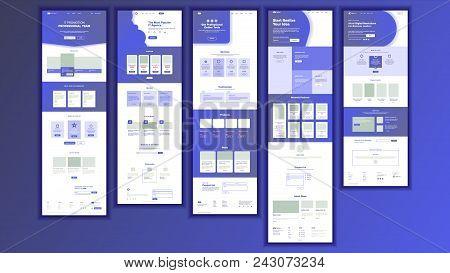 Website Page Vector. Business Website. Web Page. Landing Design Site Scheme Template. Product Testim