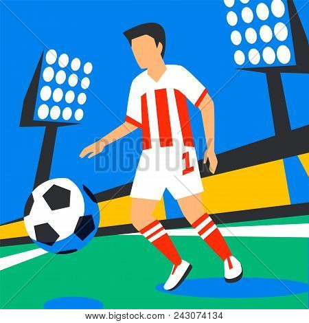 Midfielder Player. Football Player With Football Ball Against The Background Of The Stadium. Soccer