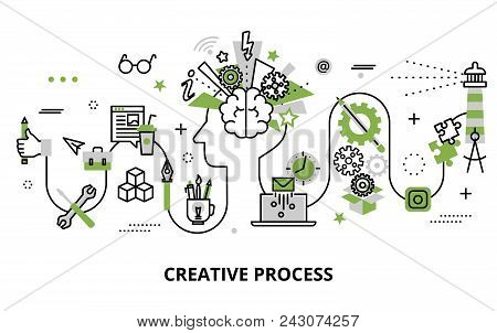 Modern Flat Thin Line Design Vector Illustration, Concept Of Creative Process, Defining And Research