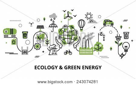 Modern Flat Thin Line Design Vector Illustration, Infographic Concept Of Ecology Problem, Generation