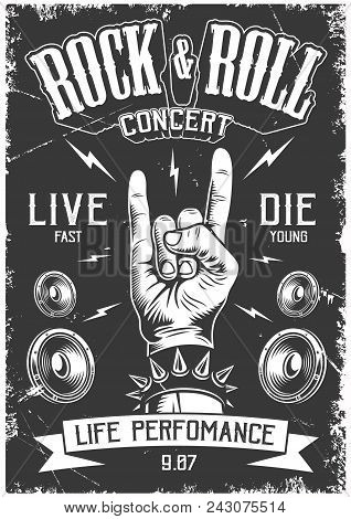 Rock And Roll Poster In Black And White Color. Vector Vintage Illustration