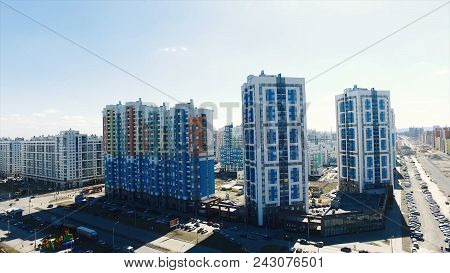 Apartment Building In A New Residential Complex. Footage. Modern Residential Complex With New Buildi