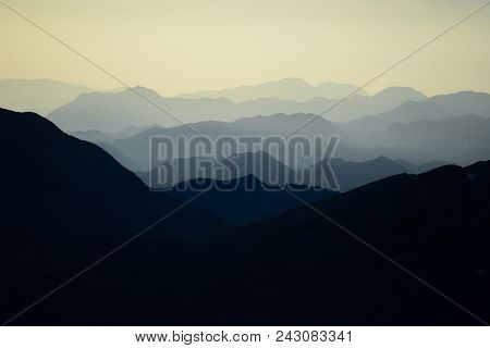Mountain Ranges,silhouette And Layers;mountain Range Background Concept