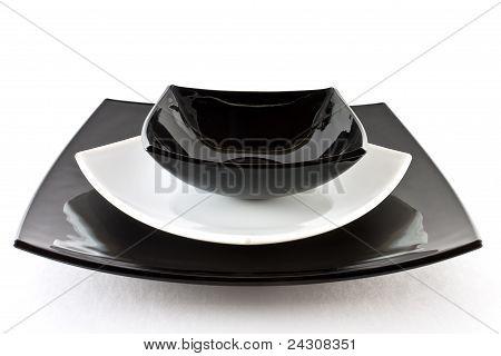 Empty white black plates