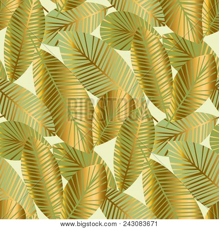 Elegant Gold Exotic Leaves Seamless Pattern For Background, Wrapping Paper, Fabric On Blue Checkered