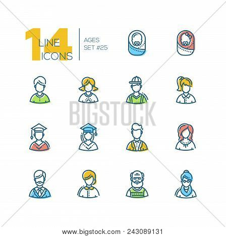 Ages - Set Of Line Design Style Icons Isolated On White Background. High Quality Colorful Minimalist