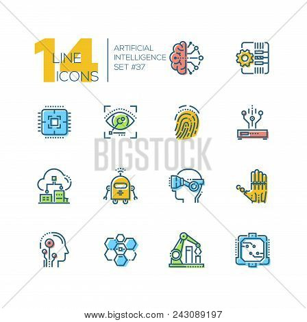 Artificial Intelligence - Set Of Line Design Style Icons On White Background. Brain, Cyberhand, Virt