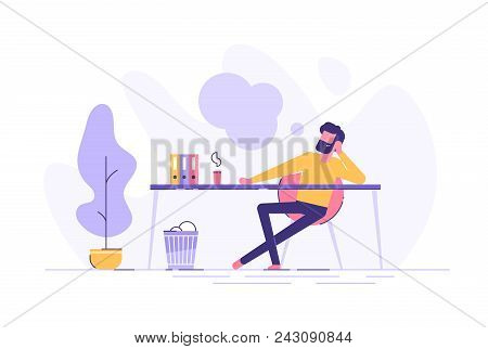 Business Man Is Relaxing And Dreaming About Something At His Work Place. Modern Office Interior. Bus