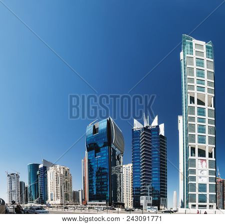 Doha, Qatar - March 3, 2018: Panoramic View Of The Futuristic Skyline In The Financial District Of Q