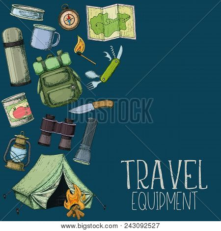 Set Of Travel Equipment. Accessories For Camping And Camps. Colorful Sketch Cartoon Illustration Of