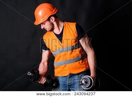 Worker, Contractor, Builder On Busy Face With Muscular Biceps. Builder In Helmet Working Out, Traini