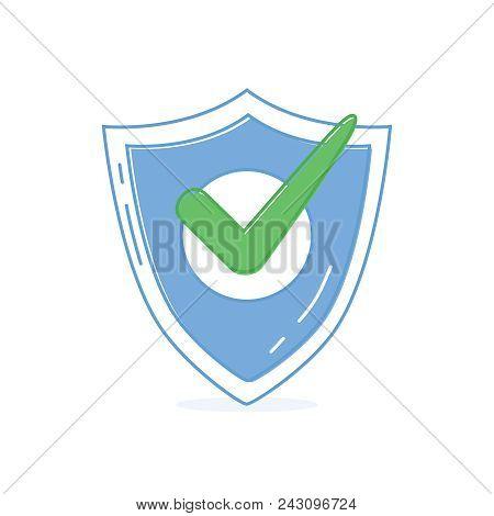 Vector Shield With Check Mark Line Icon. Shield Check Mark Logo Icon Design Template Element Vector