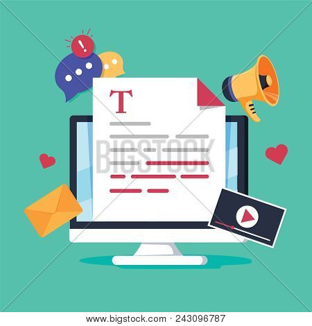 Online News, Blog Post Or Newspaper On News Website Flat Vector Illustration. News Update Digital Co
