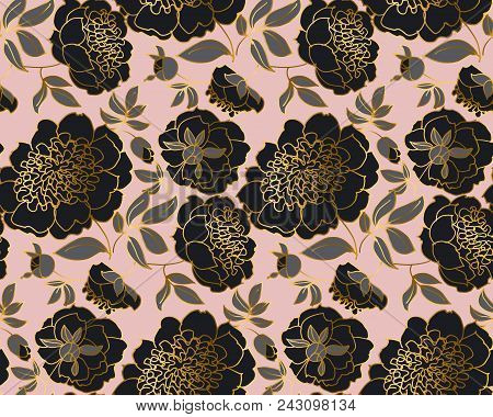 Modern Concept Black Peony Flower Seamless Pattern. Luxury Decorative Floral Endless Repeatable Moti