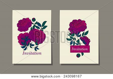 Classic Purple Peony Sketch. Hand Drawn Element For Header, Card, Invitation, Poster, Cover And Othe