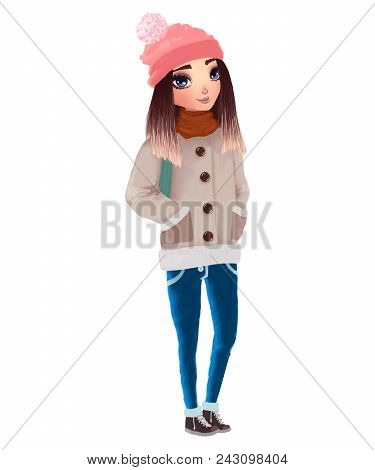 Cute Beautiful Girl Raster Illustration. Adorable Teenager Wearing Warm Winter Clothes: Hat With Pom