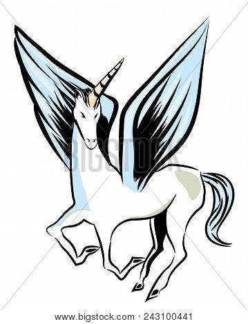 Flying Unicorn.  Flying Unicorn With Big Wings. Unicorn Isolated With White Background.