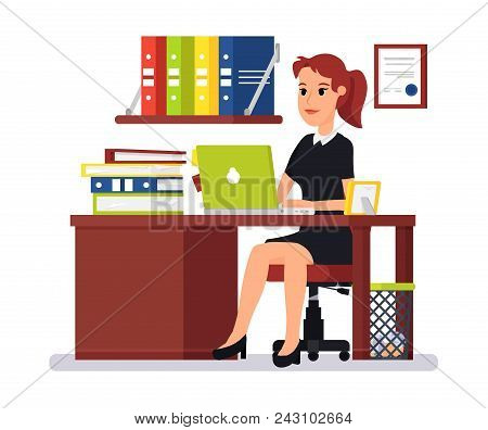 Beautiful Girl Office Worker. Woman Working Behind Laptop, On Table Are Folders With Papers And Pict
