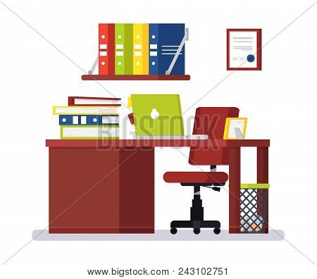 Large Modern Office With Big Chair. On Desk: Laptop, Folders With Papers, Photo In Frame. Under Tabl