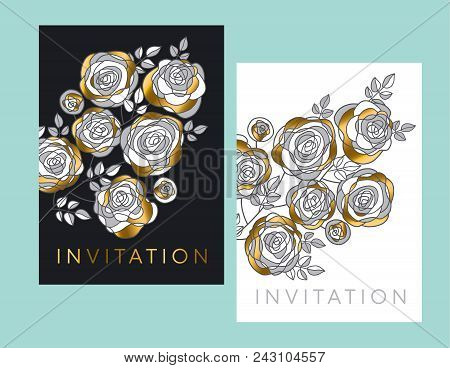 Abstract Decorative Rose Flowers Design Element. Gold And Gray Floral Motif For Header, Card, Invita