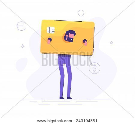 The Upset Businessman Is Standing And Shackled In Fetters In The Form Of A Credit Card. Concept Of S