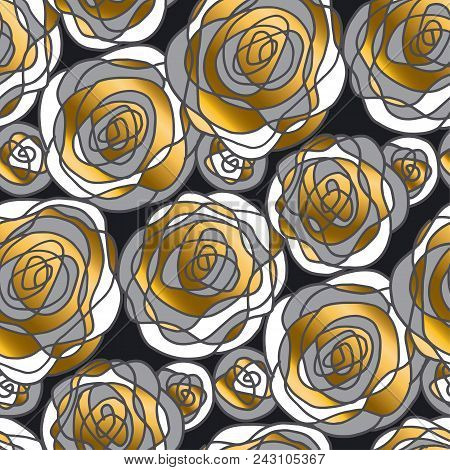 Golden Rose Concept Flowers Seamless Pattern. Gold And Gray Floral Motif For Background, Wrapping Pa