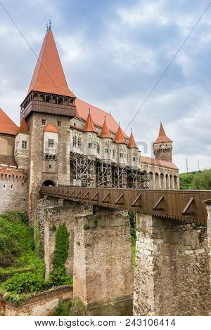 Bridge Leading To The Castle In Hunedoara, Romania
