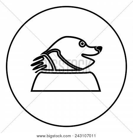 Mole Icon For Garden Craftin Circle Outline Vector Illustration Image