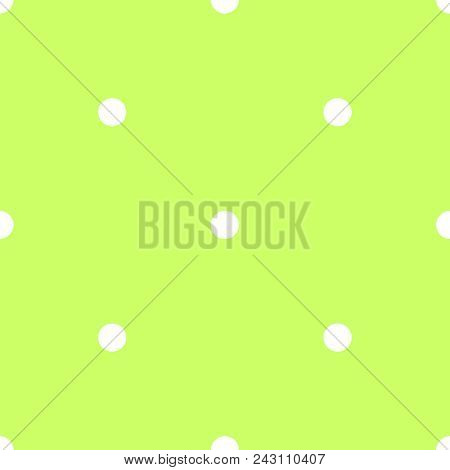 Seamless Spring Vector Pattern With White Polka Dots On Fresh Grass Green Tile Background.