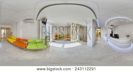 Panorama Of The Waiting Area In A Medical Confinement Near The Reception With Multi-colored Sofas An