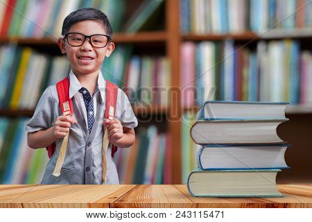 Back To School Education Knowledge College University Concept, Confident Handsome Student With Big B