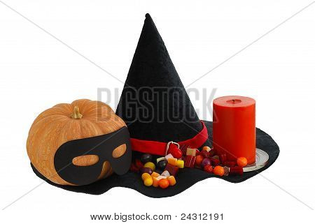 Halloween Candies With Candle And  Pumpkin On Edge Witch Hat Isolated
