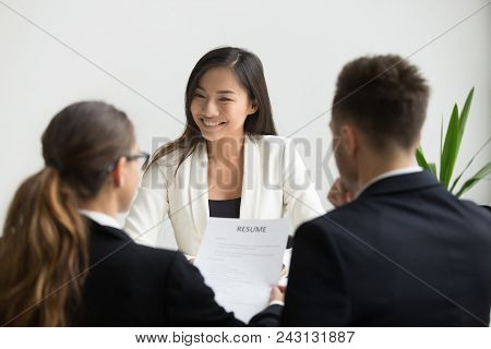 Confident Millennial Asian Applicant Smiling At Job Interview, Happy Beautiful Chinese Candidate Or