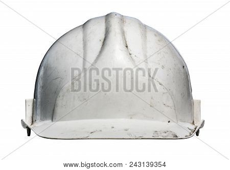 Isolated Grungy Old White Workmans Hard Hat poster