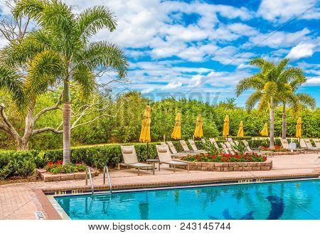 Resort Swimming Pool At A Nice Tropical Resort