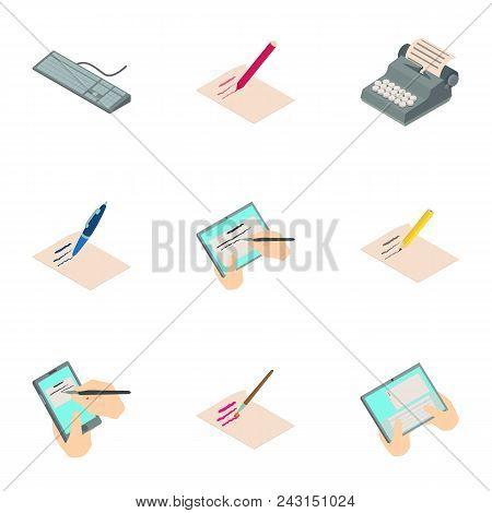 Work Of Authorship Icons Set. Isometric Set Of 9 Work Of Authorship Vector Icons For Web Isolated On
