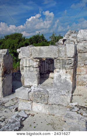 Closeup Of Mayan Doorway In The Yucatan