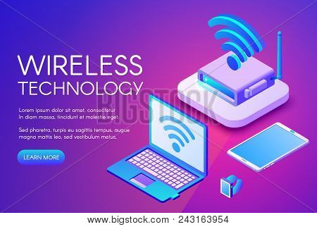Wireless Technology Vector Illustration Of Internet Data Transfer In Digital Devices. Wi-fi Router,
