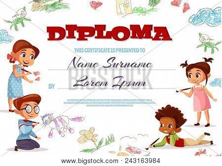 Diploma Template Vector Illustration Of Kindergarten Certificate For Kids. Cartoon Design Of Boys An