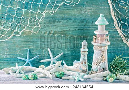 Marine life decoration on a green shabby background