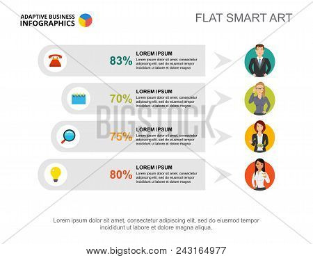 Four Options Percentage Chart Slide Template For Presentation. Abstract Elements Of Chart, Diagram,
