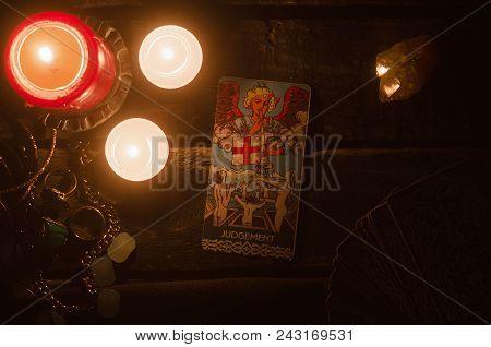 Kurgan, Russia May 30, 2018: The Judgement Tarot Card.