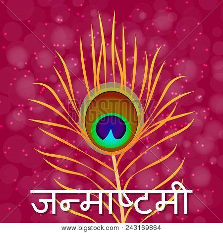 Janmashtami. Concept of a religious holiday. Indian fest. Dahi handi on Janmashtami, celebrating birth of Krishna. Text in Hindi - Janmashtami. Peacock feather poster